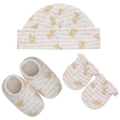 Imagem 1 do produto Kit c/ Touca, Luva e Sapatinho em algodão egípcio c/ jato de cerâmica e filtro solar fps 50 Maternity Pink Bear - Mini & Kids