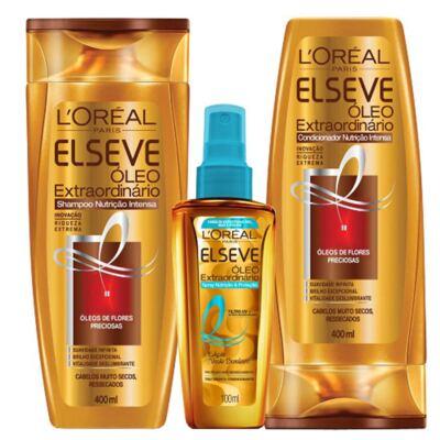Imagem 1 do produto Kit Spray + Shampoo + Condicionador L'Oréal Paris Elseve Óleo Extraordinário Nutrição Intensa - Kit