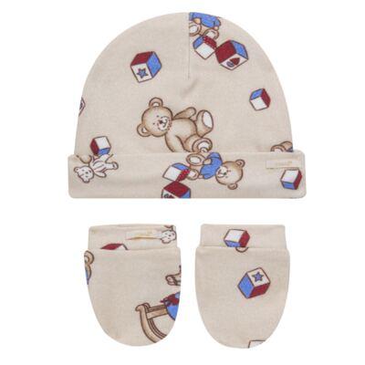 Imagem 1 do produto Kit Touca + Par de Luvas para bebe em suedine Baby Toys - Roana