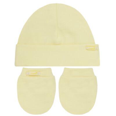 Imagem 1 do produto Kit Touca e Luva para bebe em malha Amarela - Roana