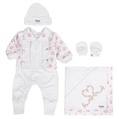 Imagem 1 do produto Saída Maternidade Tiffany: casaquinho + macacão + manta + touca + luvas