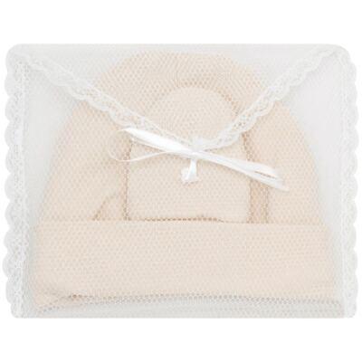 Imagem 4 do produto Kit Touca e Luva para bebe em malha Bege - Roana