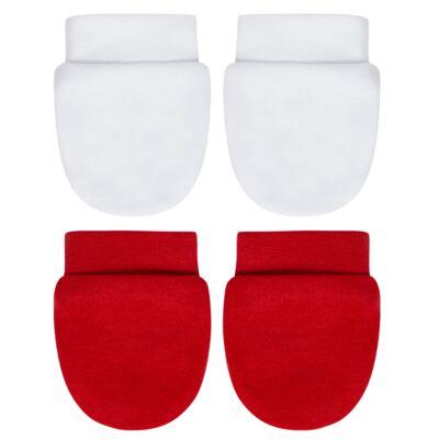 Kit 2 Pares de luvas em algodão egípcio Branca/Vermelha - Bibe