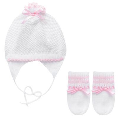 Imagem 1 do produto Kit: Gorro e Luva em tricot Branco/Rosa - Roana