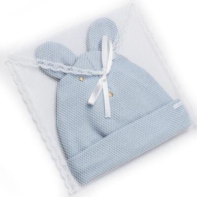 Imagem 4 do produto Kit Bichinho: Touca + Par de Luvas para bebê em suedine Azul - Roana