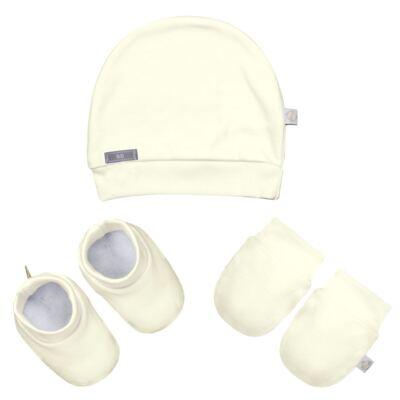 Imagem 1 do produto Kit c/ Touca, Luva e Sapatinho para bebe em malha Marfim - Beth Bebê