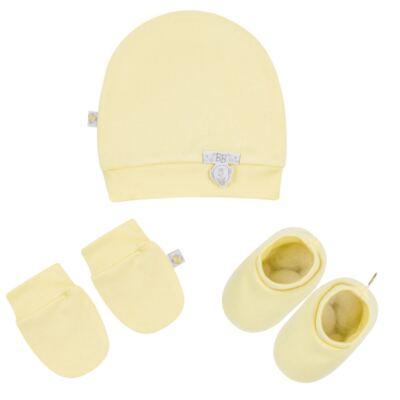Imagem 1 do produto Kit c/ Touca, Luva e Sapatinho para bebe em malha Amarelo - Beth Bebê