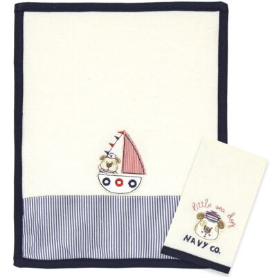 Kit com 2 fraldas de boca atoalhadas Sailor Dog - Classic for Baby
