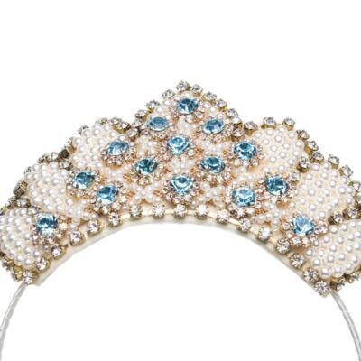 Imagem 2 do produto Tiara Coroa Pedrarias Pérolas & Strass - Roana