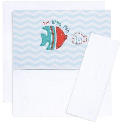 Imagem 1 do produto Jogo de lençol para berço em malha Cute Fish - Classic for Baby