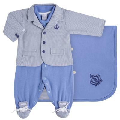 Imagem 1 do produto Jogo Maternidade com Macacão, Casaco e Manta em suedine Hector - Beth Bebê