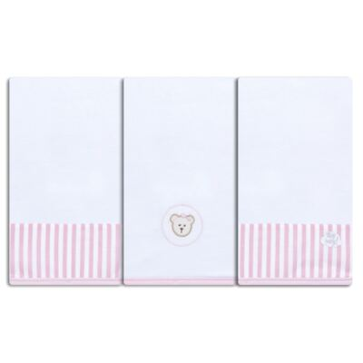 Kit com 3 fraldinhas de boca para bebe em malha Pink Teddy Bear - Hey Baby