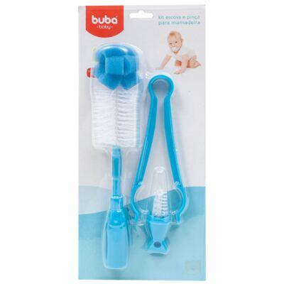 Imagem 1 do produto Kit: Escova e Pinça para mamadeira Azul - Buba