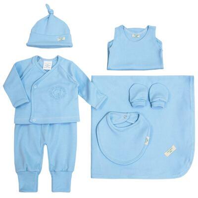 Imagem 1 do produto Jogo Maternidade Blue Teddy Bear 7 peças: Casaquinho + Body regata + Mijão + Touca + Luvas + Babador + Manta - Laura Ashley Baby