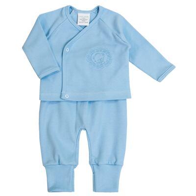 Imagem 2 do produto Jogo Maternidade Blue Teddy Bear 7 peças: Casaquinho + Body regata + Mijão + Touca + Luvas + Babador + Manta - Laura Ashley Baby