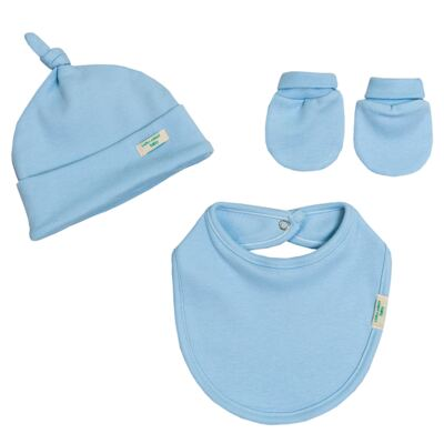 Imagem 5 do produto Jogo Maternidade Blue Teddy Bear 7 peças: Casaquinho + Body regata + Mijão + Touca + Luvas + Babador + Manta - Laura Ashley Baby