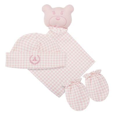Kit: Naninha Ursinha + Touca + Par de Luvas para bebe em suedine Pied Poule Pink - Coquelicot