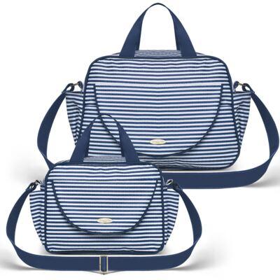 Imagem 1 do produto Bolsa + Frasqueira para Bebê Stripes Marinho - Classic for Baby Bags