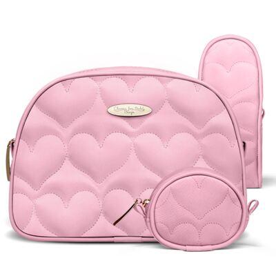 Imagem 1 do produto Kit Acessórios para bebe Coração Matelassê Rosa - Classic for Baby Bags