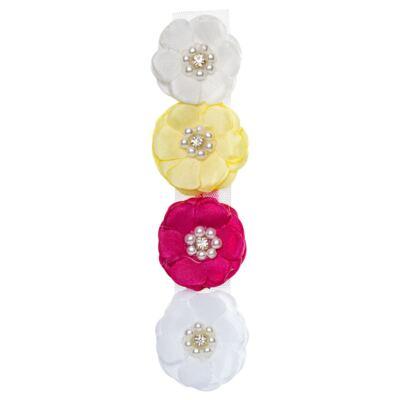 Imagem 1 do produto Kit: 4 Flores adesivas Branca/Pink/Amarela/Marfim - Roana