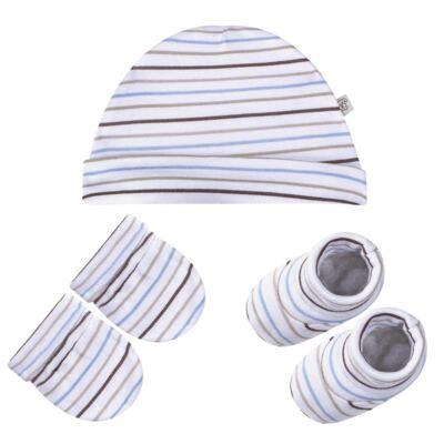 Kit c/ Touca, Luva e Sapatinho para bebe em malha Aviador - Pingo Lelê