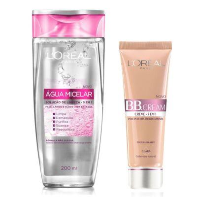 Kit L'Oréal Tônico de Limpeza Facial 5 em 1 Água Micelar 200ml + Base BB Cream 5 em 1 Clara FPS 20 50ml