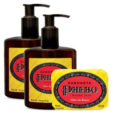 Sabonete Líquido Phebo Odor de Rosas 250ml 2 Unidades + Sabonete Phebo Odor de Rosas 90g