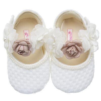Imagem 1 do produto Sapatilha para bebe em cetim Flores - Roana