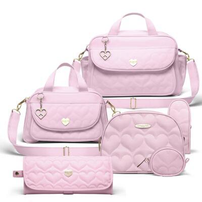 Imagem 1 do produto Bolsa maternidade para bebe Málaga + Frasqueira Valencia + Kit Acessórios + Trocador Portátil Corações Matelassê Rosa -  Classic for Baby Bags