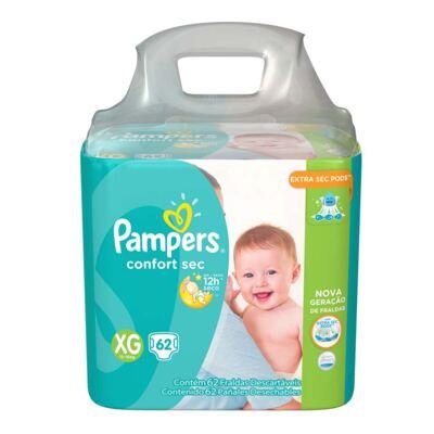 Imagem 2 do produto Kit Pampers Fralda Descartável Confort Sec XG 62 Unidades + Lenço Umedecido Fresh Clean 48 Unidades