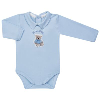 Imagem 2 do produto Body longo c/ Calça (Mijão) para bebe em algodão egípcio Chevalier - Petit - 19994167 CONJ BODY ML C/ MIJAO SUED/VISCO URSO-M