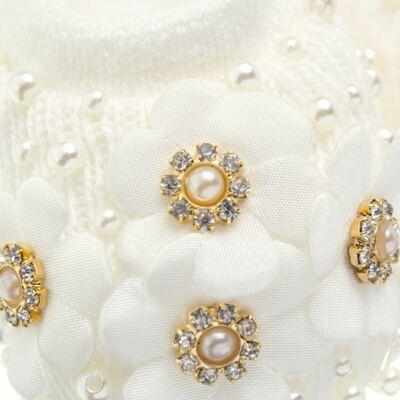 Imagem 3 do produto Sapatinho com Faixa para bebe em tricot Flores & Pérolas Marfim - Roana