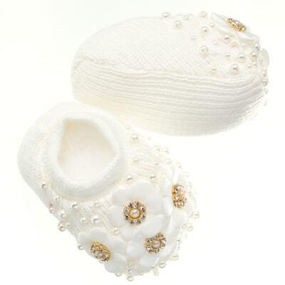 Imagem 4 do produto Sapatinho com Faixa para bebe em tricot Flores & Pérolas Marfim - Roana