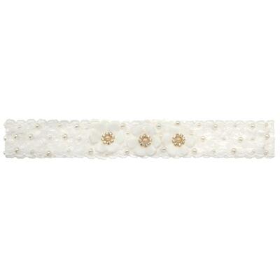 Imagem 5 do produto Sapatinho com Faixa para bebe em tricot Flores & Pérolas Marfim - Roana
