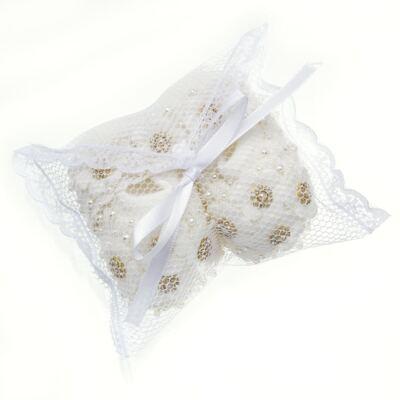 Imagem 6 do produto Sapatinho com Faixa para bebe em tricot Flores & Pérolas Marfim - Roana