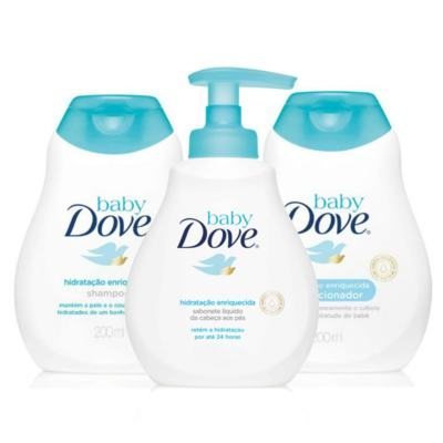Kit Dove Baby Hidratação Enriquecida Shampoo 200ml + Condicionador 200ml + Sabonete Líquido Da Cabeça Aos Pés 200ml