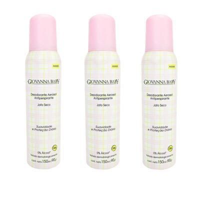 Desodorante Giovanna Baby Aerosol Rosa Feminino 150ml 3 Unidades