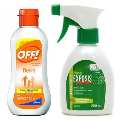 Repelente Exposis Spray 200ml + Repelente OFF Family Loção 100ml