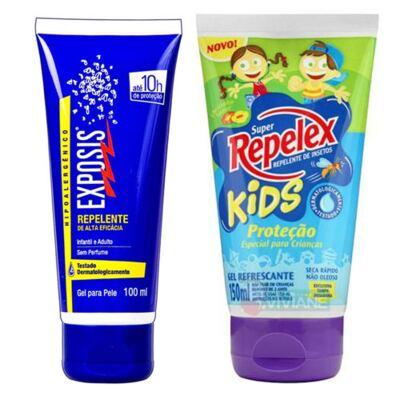 Repelente Exposis Gel 100ml + Repelente Replex Kids 133ml