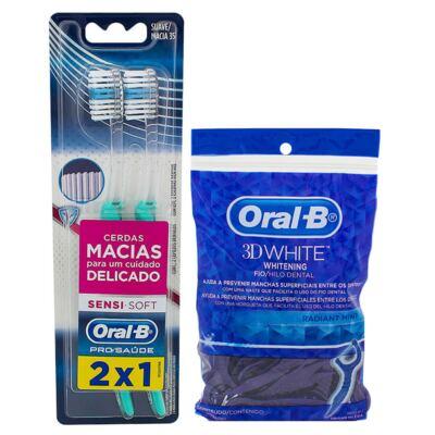 Kit Oral-B 2 Escovas Indicator Sensi Soft + Fio Dental Flexível Hastes 75 Unidades