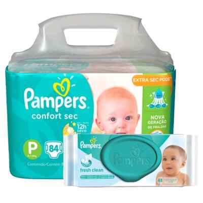 Imagem 1 do produto Kit Pampers Fralda Descartável Confort Sec P 84 Unidades + Lenço Umedecido Fresh Clean 48 Unidades