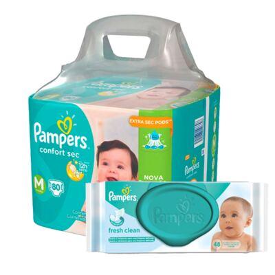 Imagem 1 do produto Kit Pampers Fralda Descartável Confort Sec M 80 Unidades + Lenço Umedecido Fresh Clean 48 Unidades