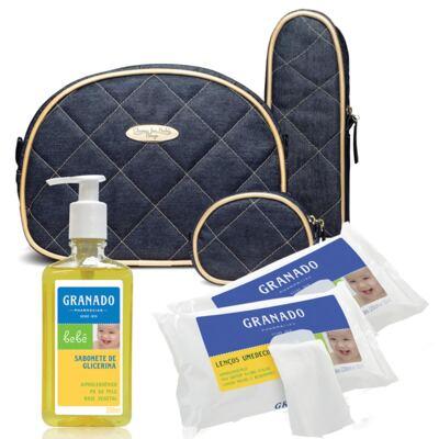 Imagem 1 do produto Kit Acessórios Golden Denim +  Lenços Umedecidos + Sabonete Líquido Bebê Tradicional - Classic For Baby Bags & Granado