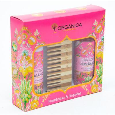 Imagem 2 do produto Framboesa & Orquídea Orgânica - Kit Loção Hidratante 100ml + Sabonete Líquido 100ml + Pente - Kit