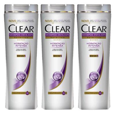 Imagem 1 do produto Kit 3 Shampoo Clear Hidratação Intensa 200ml
