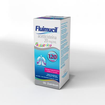 Imagem 2 do produto Fluimucil Xarope Expectorante Pediátrico Sabor Framboesa 20mg/mL 120mL - 120mL