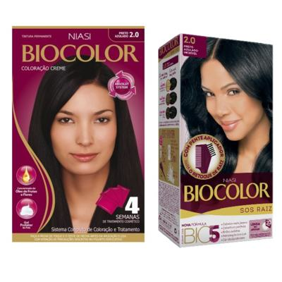 Tintura Biocolor 2.0 Preto Azulado + Tintura Biocolor S.O.S Raiz Preto Azulado 2.0