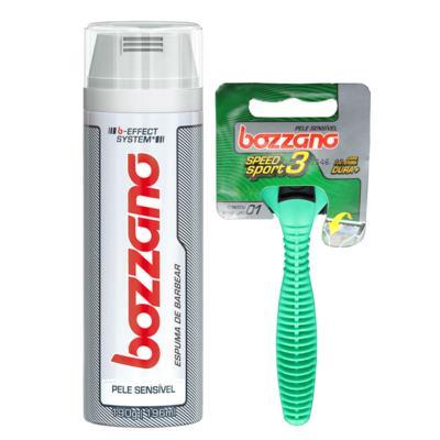 Kit Bozzano Espuma de Barbear Pele Sensível 190g + Aparelho de Barbear Speed 3