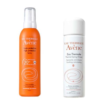 Protetor Solar Avène 50 Infantil Spray 200ml + Água Termal Avéne 50ml