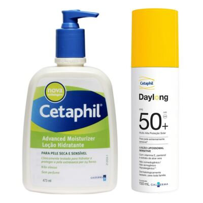 Kit Cetaphil Loção Hidratante Advanced Moisturizer Pump 473ml + Protetor Solar Daylong Lipossomal Sensitive FPS 50 150ml
